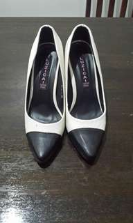Black and white formal shoes