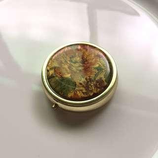 西洋古典花卉圓藥盒 隨身盒 戒指盒