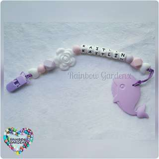 Handmade Pacifier Clip with customisation of name + Whale Teether