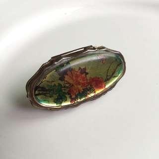 西洋古典花卉手鏡 口紅架 手指鏡