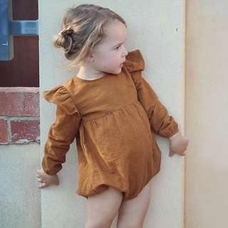 ✔️STOCK - VINTAGE SIERRA ORANGE BROWN RUFFLED LONG SLEEVES NEWBORN ONESIE BABY TODDLER GIRL ROMPER  KIDS CHILDREN CLOTHING