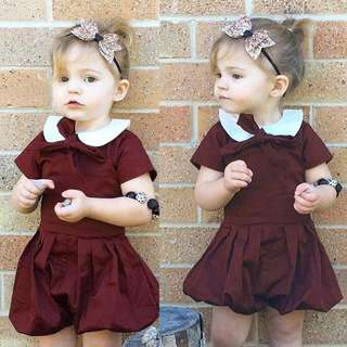✔️STOCK - VINTAGE MAROON RED PETER PAN COLLAR SHORT SLEEVES ONESIE BABY TODDLER GIRL ROMPER  KIDS CHILDREN CLOTHING