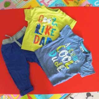 Mothercare Set of 1 khakis pants and 2 t-shirts (6-9 months old)