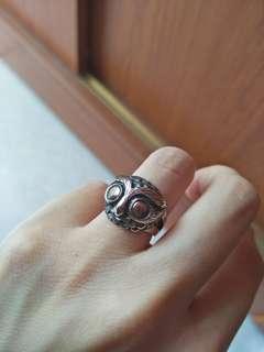 Silver Ring Owl size 7 貓頭鷹純銀戒指