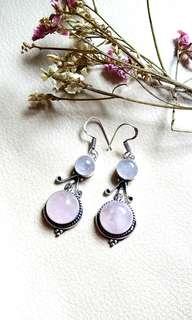 "Charming Rose Quartz Dangling Earrings 2 1/4 "". Set in 925 Silver."