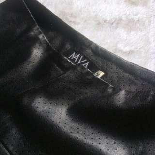 NAVA | Black Leather Flare Waist Skirt