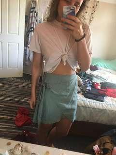 Mint tie-up skirt
