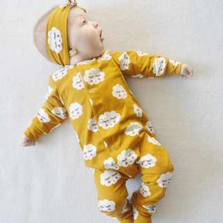 ✔️STOCK -2pc MUSTARD YELLOW CLOUD EYELASH LONG SLEEVES PJ ROMPER NEWBORN ONESIE & HEADBAND BABY TODDLER GIRL ROMPER  KIDS CHILDREN CLOTHING