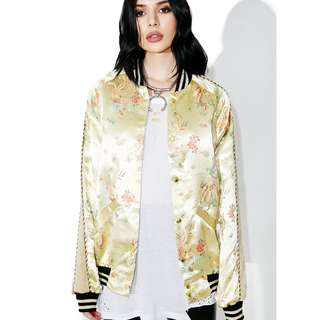 JADED LONDON Gold Embroidery Oriental Bomber Jacket