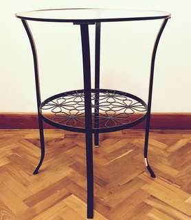 IKEA wrought iron and glass side table