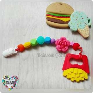 Handmade Rainbow Pacifier Clip + Fries Teether