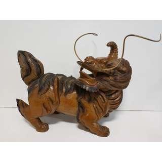 尚典中古家具(二手家具)~中古木雕(二手擺飾)原木木雕麒麟.瑞獸.無拼接