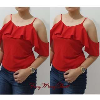 Ruby Red Bakuna offshoulder top