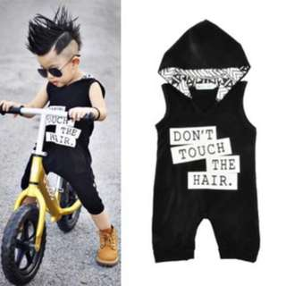 ✔️STOCK - DON'T TOUCH THE HAIR WITH HOODIE BABY TODDLER BOY PJ ROMPER KIDS CHILDREN CLOTHING