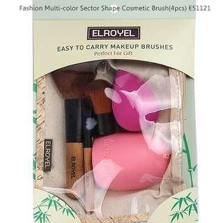 Fashion Multi-color Sector Shape Decorated Cosmetic Brush(4pcs) E51121