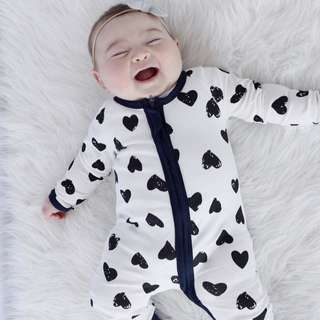 ✔️STOCK - BW CLASSIC HEART LOVE UNISEX PAJAMA BABY TODDLER BOY/GIRL ZIPPER PJ ROMPER KIDS CHILDREN CLOTHING