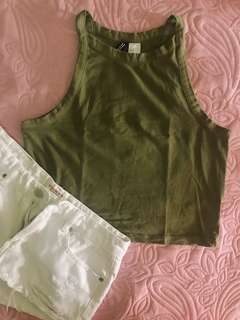 H&M Olive Green Racer Cropped Top