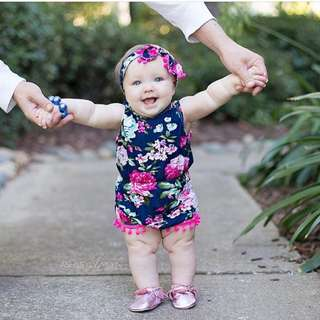 ✔️STOCK - 2pc BLACK FLORAL FUSCHIA PINK NEWBORN BABY TODDLER GIRL POM POM ROMPER & RIBBON HEADBAND KIDS CHILDREN CLOTHING