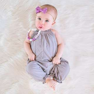✔️STOCK - GREY HALTER NECK CHIFFON BABY TODDLER GIRL ROMPER JUMPER KIDS CHILDREN CLOTHING