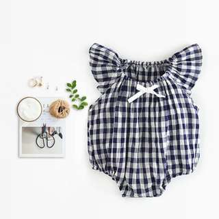 ✔️STOCK - DAINTY BOW RIBBON CHECKERED NAVY NEWBORN BABY TODDLER GIRL ROMPER KIDS CHILDREN CLOTHING