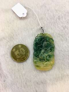 天然A貨翡翠,黃加綠龍牌吊咀加18k金扣