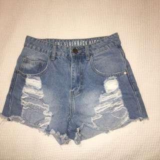 Ripped Denim Shorts, Size 8