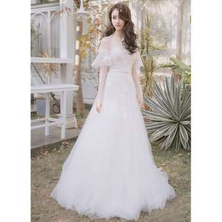 Wedding Collection - Unique Transparent Long Special Design Sleeves Wedding Gown