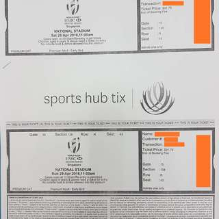 Pair of Singapore Rugby 7s Premium halfway line tickets for Sat and Sun!