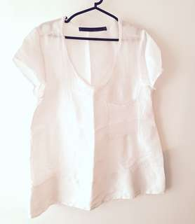 Charity Sale! Authentic Zara Woman White 100% Silk Women's Top Blouse Size Small Flowy