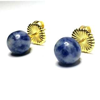 Blue Adventurine Electroplated Gold 925 Sterling Silver Fashion Jewelry