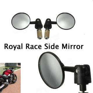 Universal Motorcycle Handlebar End Side Rear View Round Mirror