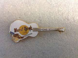 Hard Rock Cafe Pins - HONG KONG HOT & RARE 2000 WHITE GIBSON GUITAR WITH RICKSHAW!