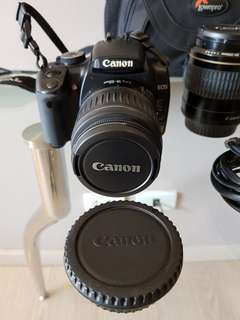 Canon EOS 400D kit with bag, extra battery, zoom lens, and macro lens