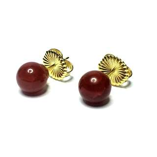 Fire Agate ElectroPlated Gold 925 Sterling Silver Stud Earrings