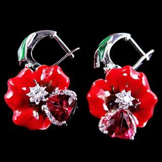 eNAMEL EARRINGS / sUBANG / ANTING CLIP ON FLOWER RED ROSE
