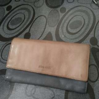 Pierre cardin genuine leather made in italy long wallet