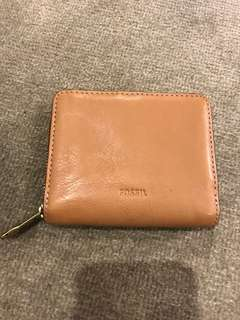 Fossil Tan Genuine Leather Wallet with Gold Zips Excellent Condition