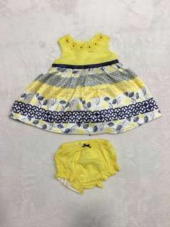 Periwinkle yellow baby dress with panty