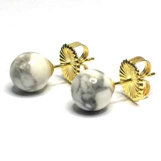 White Howlite ElectroPlated Gold 925 Sterling Silver Stud Earrings