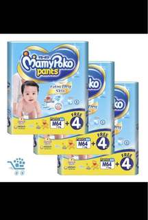 *Price reduced* Mamypoko Pants Diapers - M size 64+4 pack