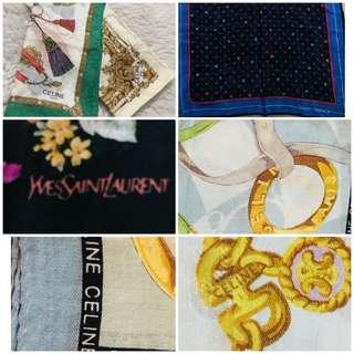 Bundle Sale! Authentic Hankies/ Scarves Celine / Givenchy / YSL