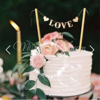 Love Flags Gold Glitters Lettering on Gold Striped Straw Cake Topper