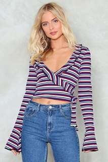 Stripey wrap top