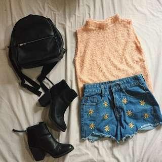 Pink Furry Top & Sunflower Short
