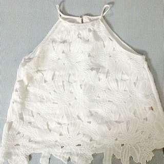 White Halter Crochet Top