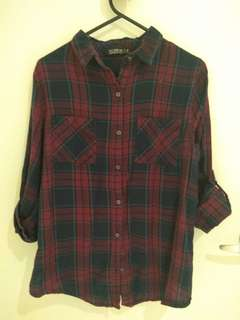 Navy blue and red plaid shirt