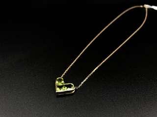 18k 橄欖石 水晶 心心吊咀 包鏈
