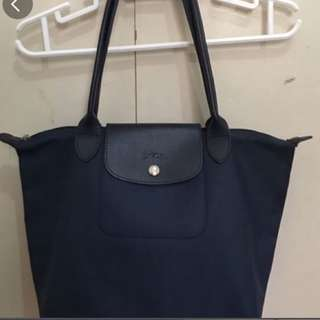 Authentic Lonchamp navy blue le pliage longhandle free sf within mm