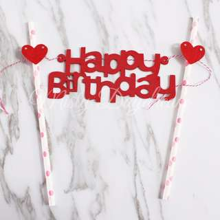 Happy Birthday Red Lettering With Hearts Pink Straw Cake Topper