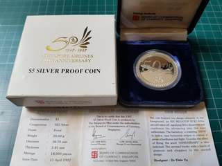 Singapore Airlines 50th Anniversary silver coin